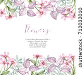 watercolor flowers and leaves.... | Shutterstock . vector #712032010