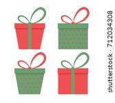 christmas gift boxes set.vector ... | Shutterstock .eps vector #712034308