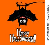halloween card   happy... | Shutterstock . vector #712043038
