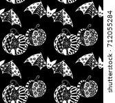 black and white halloween... | Shutterstock .eps vector #712055284
