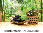 bamboo charcoal on natural... | Shutterstock . vector #712061080