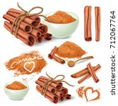 set of cinnamon sticks and... | Shutterstock .eps vector #712067764