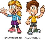 cute cartoon boy and girl.... | Shutterstock .eps vector #712070878
