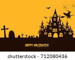 haunted house  with witch and...   Shutterstock .eps vector #712080436