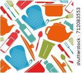 kitchen equipment pattern... | Shutterstock .eps vector #712083553