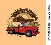 vintage truck farmer  and dog... | Shutterstock .eps vector #712084303