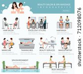people in spa beauty salon and... | Shutterstock .eps vector #712098076