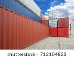 stack of cargo containers at...   Shutterstock . vector #712104823