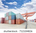 stack of cargo containers at... | Shutterstock . vector #712104826