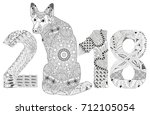 number 2018 zentangle with dog. ... | Shutterstock .eps vector #712105054