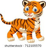 cartoon baby tiger isolated on... | Shutterstock .eps vector #712105570