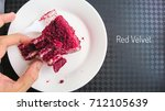 piece of cake with red velvet... | Shutterstock . vector #712105639