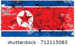 north korea flag grunge... | Shutterstock . vector #712115083