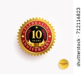 10 years anniversary gold and... | Shutterstock .eps vector #712116823