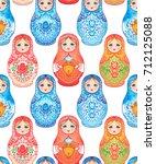 babushka  matryoshka  seamless... | Shutterstock . vector #712125088