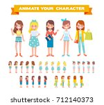 front  side  back view animated ... | Shutterstock .eps vector #712140373