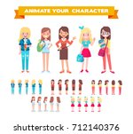 front  side  back view animated ... | Shutterstock .eps vector #712140376