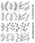 set of doodle tree branch... | Shutterstock .eps vector #712154119