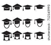 graduation cap vector icons set.... | Shutterstock .eps vector #712165993