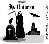 happy halloween vintage... | Shutterstock .eps vector #712170658