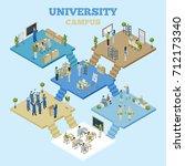 university campus isometric... | Shutterstock . vector #712173340
