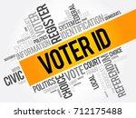 voter id word cloud collage  ... | Shutterstock .eps vector #712175488