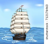 vintage sailing ship in the sea ... | Shutterstock .eps vector #712176463