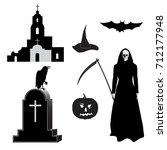 set of images for halloween ... | Shutterstock .eps vector #712177948