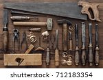 collection of vintage carpentry ... | Shutterstock . vector #712183354