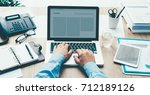 corporate businessman working... | Shutterstock . vector #712189126