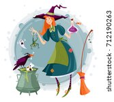 little witch preparing a magic... | Shutterstock .eps vector #712190263