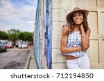 young african american woman... | Shutterstock . vector #712194850