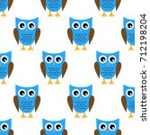 seamless pattern with owl | Shutterstock .eps vector #712198204