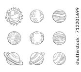 vector cartoon planets ... | Shutterstock .eps vector #712201699