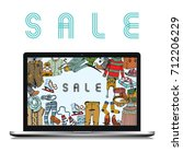 winter sale clothing and... | Shutterstock .eps vector #712206229