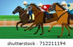 horse race in a racecourse | Shutterstock .eps vector #712211194