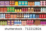 supermarket  shelves with... | Shutterstock .eps vector #712212826