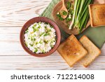 clay bowl of goat cream cheese... | Shutterstock . vector #712214008