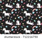 cute unicorn dreams pattern ... | Shutterstock .eps vector #712216750