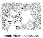 unicorn  wreath of flowers. ... | Shutterstock .eps vector #712228858