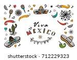 viva mexico vector greeting... | Shutterstock .eps vector #712229323
