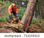 the lumberjack working in a... | Shutterstock . vector #712233313