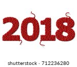 new year 2018 of knitted fabric ... | Shutterstock .eps vector #712236280
