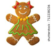 gingerbread woman decorated...   Shutterstock . vector #712238236