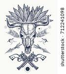 bull skull tattoo and t shirt... | Shutterstock .eps vector #712241098