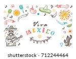 viva mexico vector greeting... | Shutterstock .eps vector #712244464