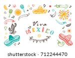viva mexico vector greeting... | Shutterstock .eps vector #712244470