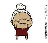 cartoon annoyed old lady | Shutterstock .eps vector #712248313
