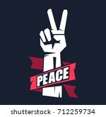 hand gesture peace sign | Shutterstock .eps vector #712259734