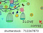 painting coffee wall | Shutterstock . vector #712267873